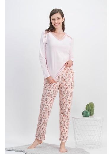 Arnetta Arnetta Vintage Flowers Açık Pembe Kadın Büyük Beden Pijama Takımı Pembe
